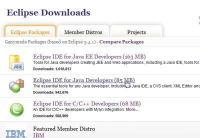 Eclipseのダウンロード
